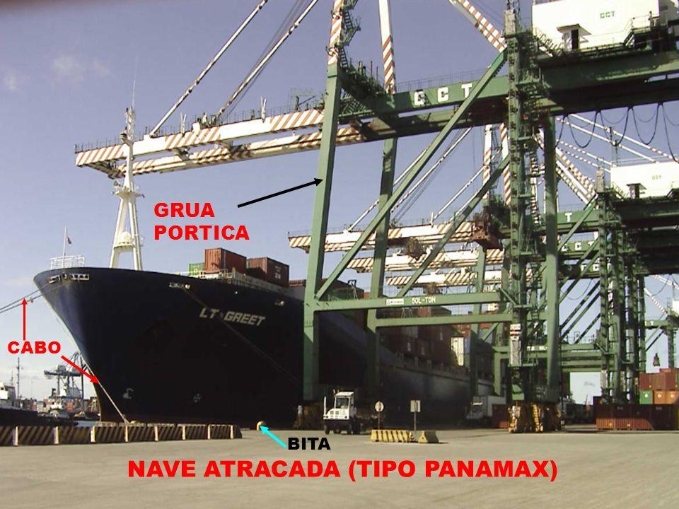 NAVE ATRACADA (TIPO PANAMAX) GRUA PORTICA BITA CABO
