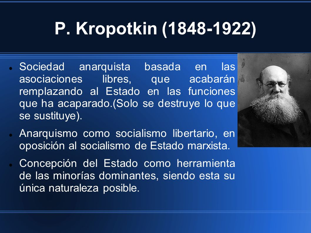 P. Kropotkin (1848-1922) Sociedad anarquista basada en las asociaciones libres, que acabarán remplazando al Estado en las funciones que ha acaparado.(