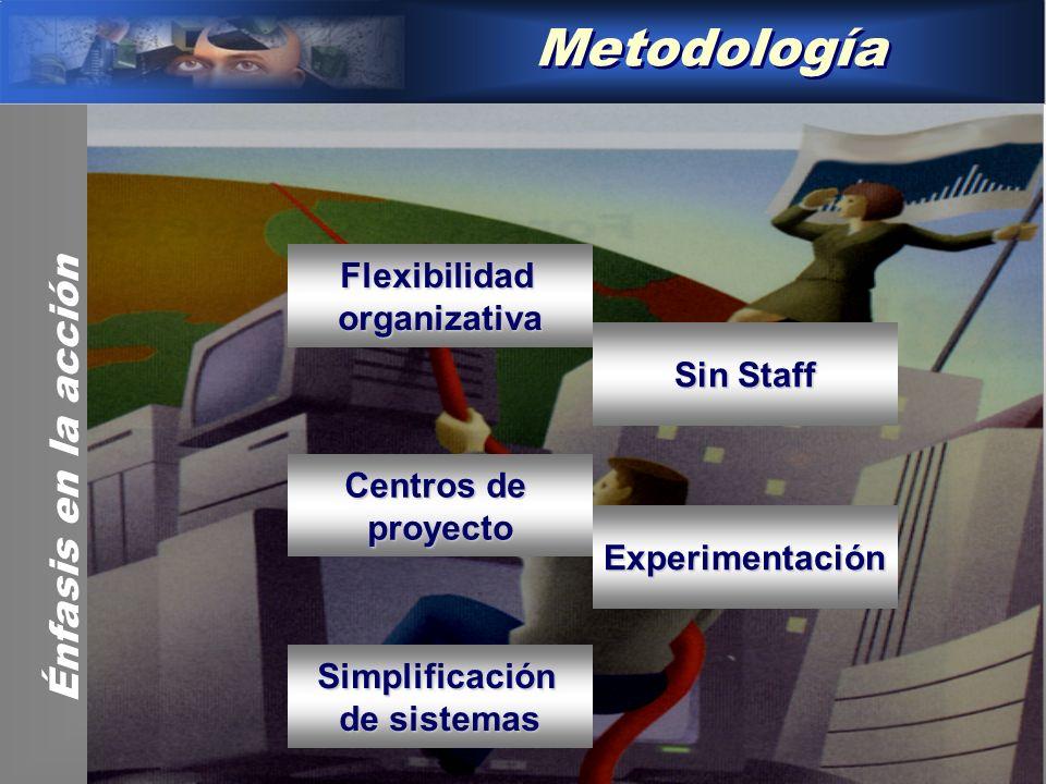Metodología Flexibilidadorganizativa Centros de proyecto Experimentación Sin Staff Simplificación de sistemas Énfasis en la acción
