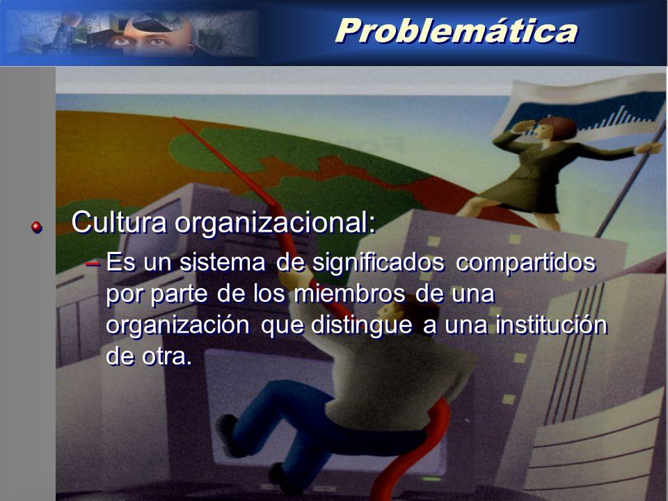 Problemática Cultura organizacional: –Es un sistema de significados compartidos por parte de los miembros de una organización que distingue a una institución de otra.
