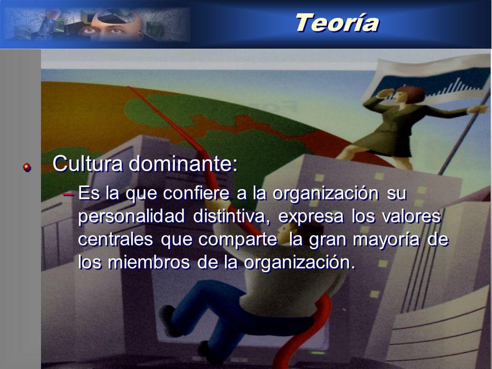 Teoría Cultura dominante: –Es la que confiere a la organización su personalidad distintiva, expresa los valores centrales que comparte la gran mayoría de los miembros de la organización.