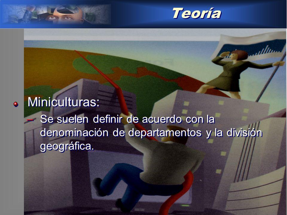 Teoría Miniculturas: –Se suelen definir de acuerdo con la denominación de departamentos y la división geográfica.