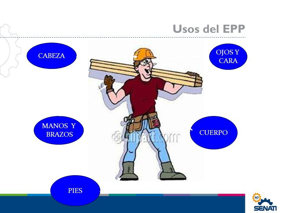 CABEZA MANOS Y BRAZOS PIES OJOS Y CARA CUERPO Usos del EPP