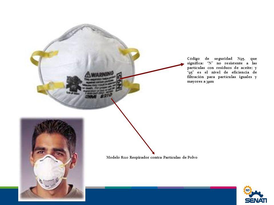 Modelo 8210 Respirador contra Partículas de Polvo Código de seguridad N95, que significa: N no resistente a las partículas con residuos de aceite; y 9