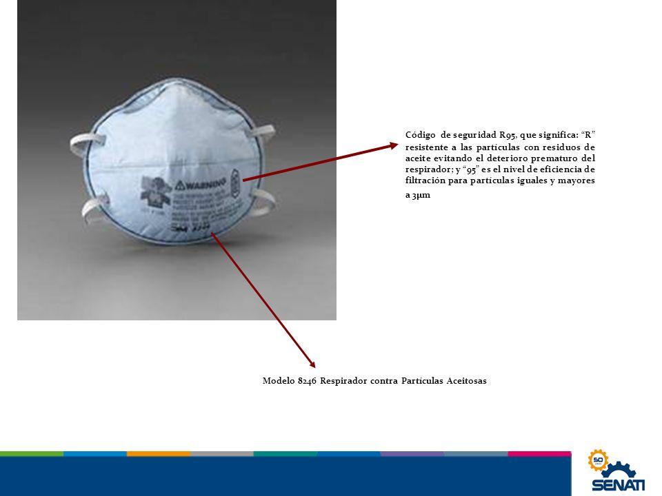 Código de seguridad R95, que significa: R resistente a las partículas con residuos de aceite evitando el deterioro prematuro del respirador; y 95 es e