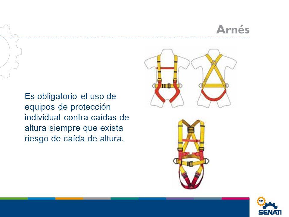 Es obligatorio el uso de equipos de protección individual contra caídas de altura siempre que exista riesgo de caída de altura. Arnés