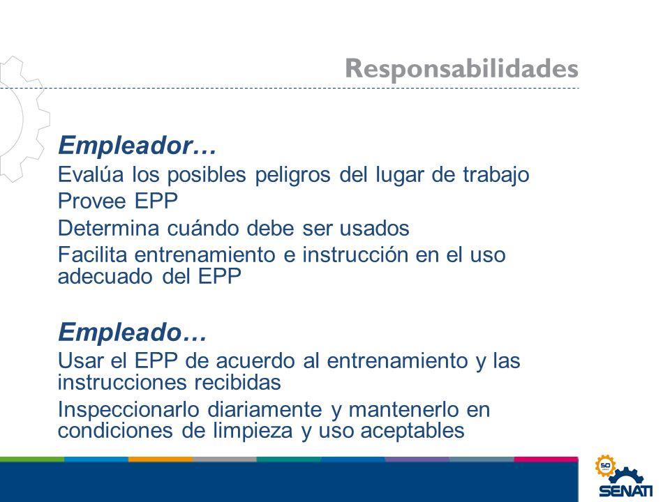 Empleador… Evalúa los posibles peligros del lugar de trabajo Provee EPP Determina cuándo debe ser usados Facilita entrenamiento e instrucción en el us