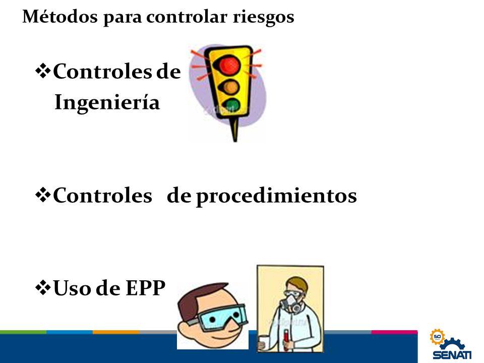 Controles de Ingeniería Controles de procedimientos Uso de EPP Métodos para controlar riesgos