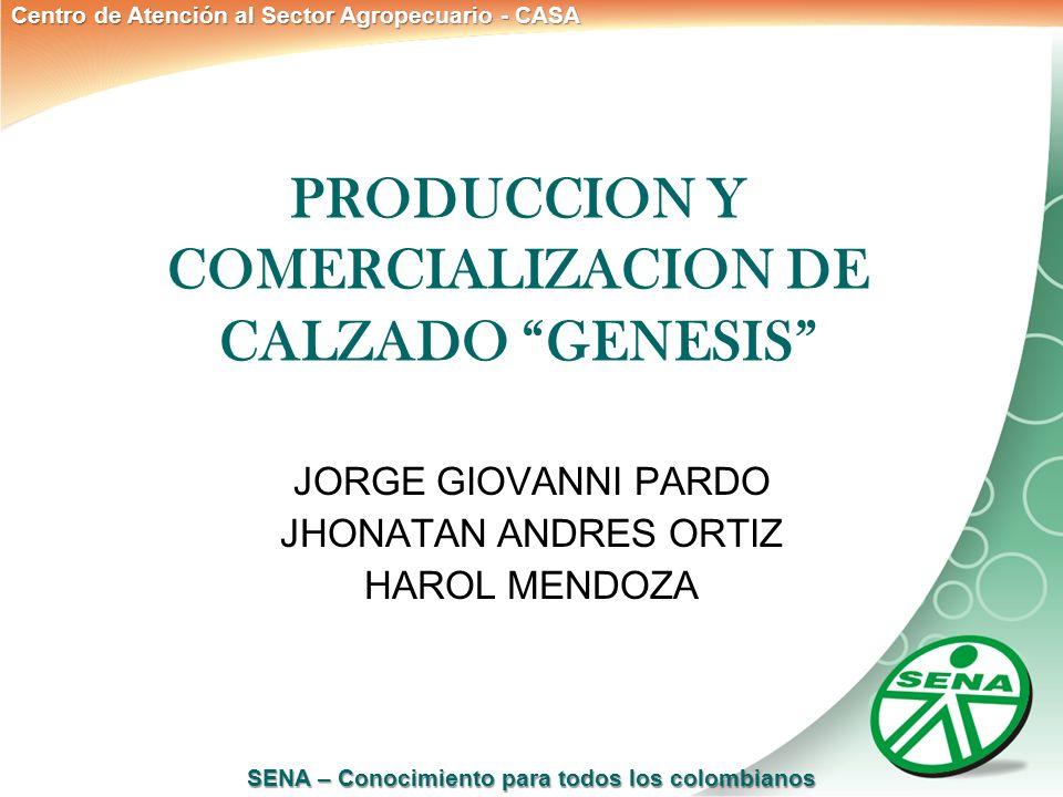 SENA – Conocimiento para todos los colombianos Centro de Atención al Sector Agropecuario - CASA PRODUCCION Y COMERCIALIZACION DE CALZADO GENESIS JORGE