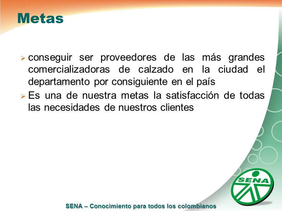 SENA – Conocimiento para todos los colombianos Metas conseguir ser proveedores de las más grandes comercializadoras de calzado en la ciudad el departa