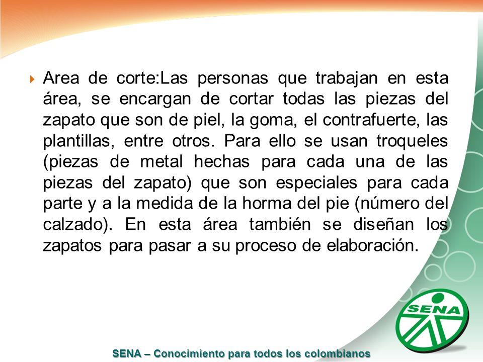 SENA – Conocimiento para todos los colombianos Area de corte:Las personas que trabajan en esta área, se encargan de cortar todas las piezas del zapato