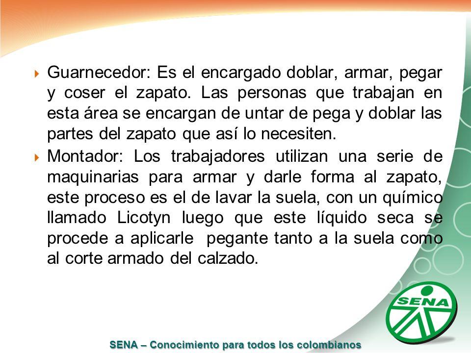 SENA – Conocimiento para todos los colombianos Guarnecedor: Es el encargado doblar, armar, pegar y coser el zapato. Las personas que trabajan en esta