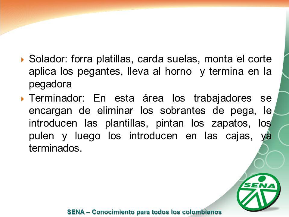 SENA – Conocimiento para todos los colombianos Solador: forra platillas, carda suelas, monta el corte aplica los pegantes, lleva al horno y termina en