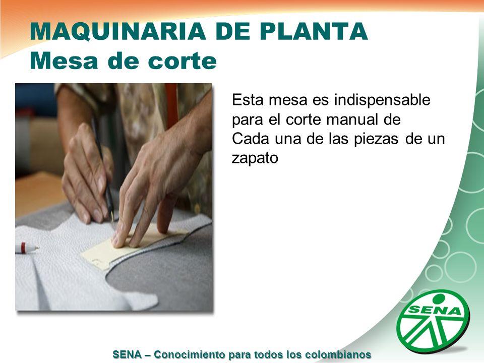 SENA – Conocimiento para todos los colombianos MAQUINARIA DE PLANTA Mesa de corte Esta mesa es indispensable para el corte manual de Cada una de las p