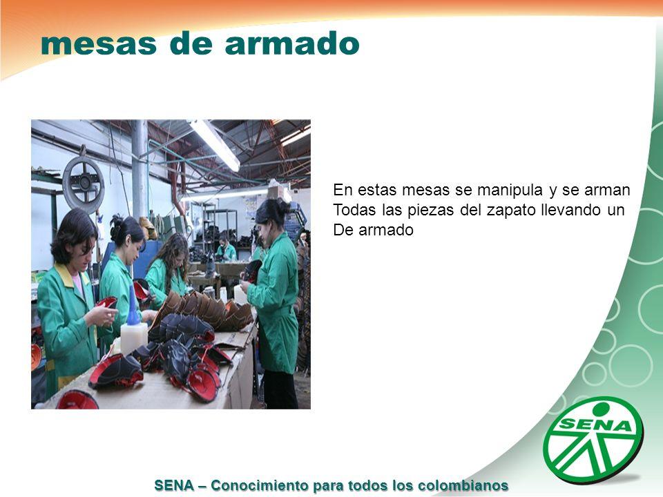 SENA – Conocimiento para todos los colombianos mesas de armado En estas mesas se manipula y se arman Todas las piezas del zapato llevando un De armado