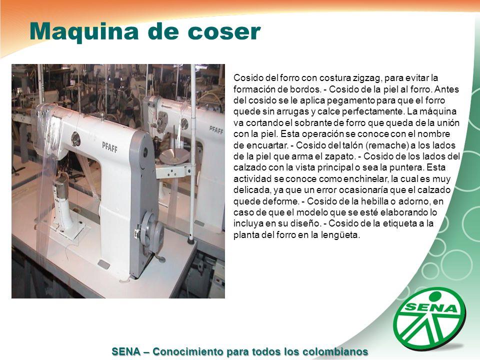 SENA – Conocimiento para todos los colombianos Maquina de coser Cosido del forro con costura zigzag, para evitar la formación de bordos. - Cosido de l