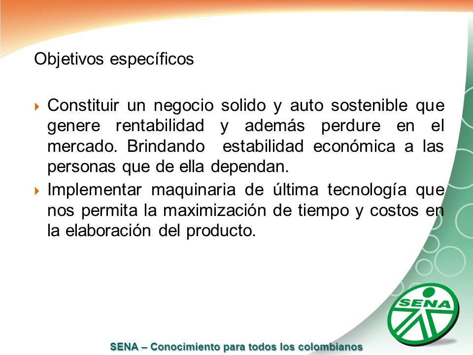 SENA – Conocimiento para todos los colombianos Objetivos específicos Constituir un negocio solido y auto sostenible que genere rentabilidad y además p