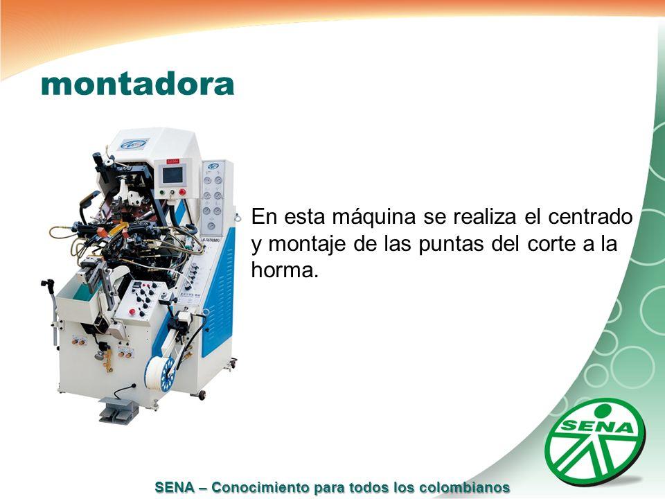 SENA – Conocimiento para todos los colombianos montadora En esta máquina se realiza el centrado y montaje de las puntas del corte a la horma.