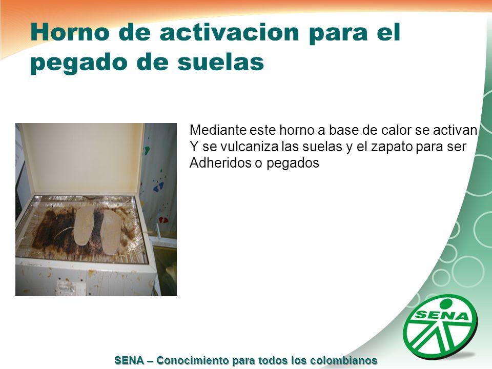 SENA – Conocimiento para todos los colombianos Horno de activacion para el pegado de suelas Mediante este horno a base de calor se activan Y se vulcan