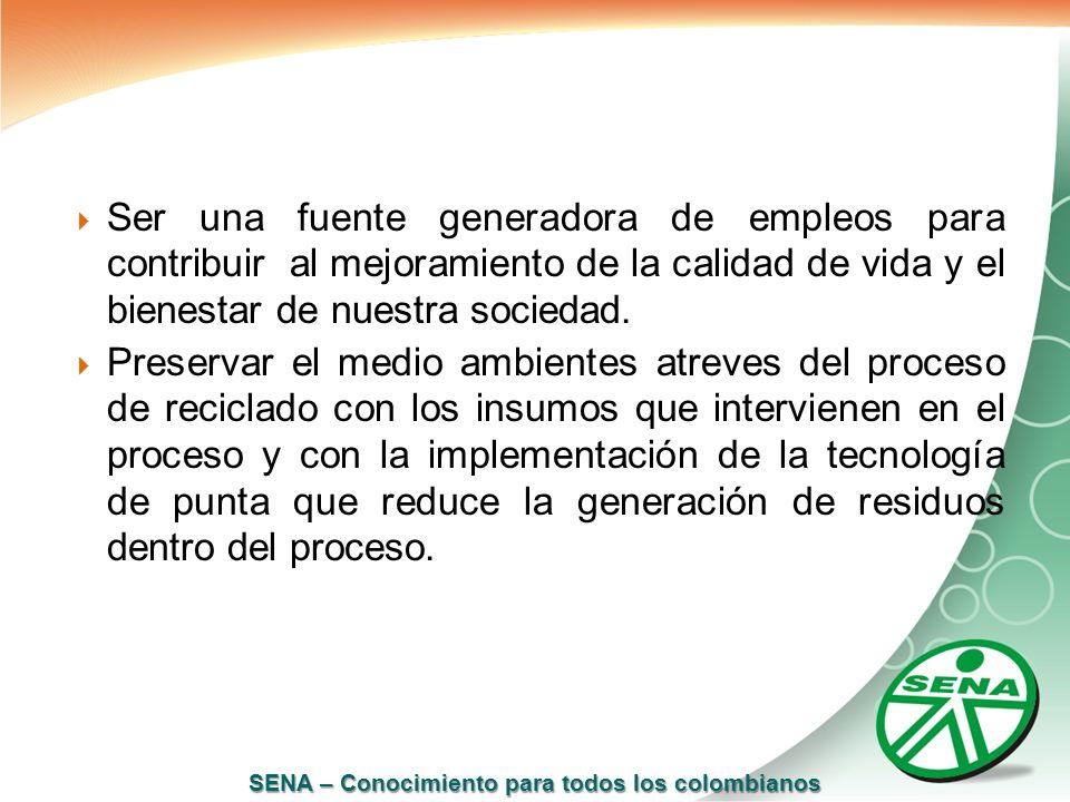 SENA – Conocimiento para todos los colombianos Ser una fuente generadora de empleos para contribuir al mejoramiento de la calidad de vida y el bienest