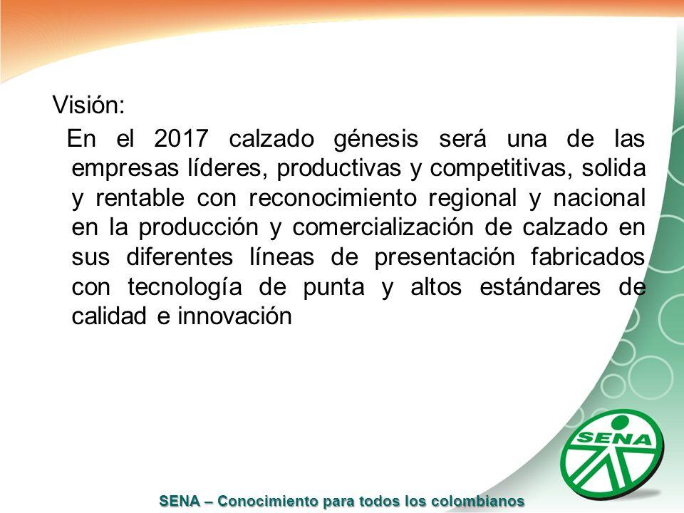 SENA – Conocimiento para todos los colombianos Visión: En el 2017 calzado génesis será una de las empresas líderes, productivas y competitivas, solida