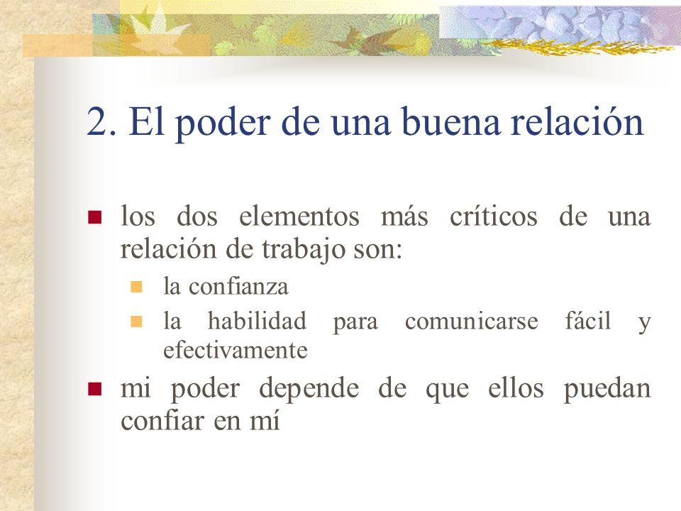 2. El poder de una buena relación los dos elementos más críticos de una relación de trabajo son: la confianza la habilidad para comunicarse fácil y ef
