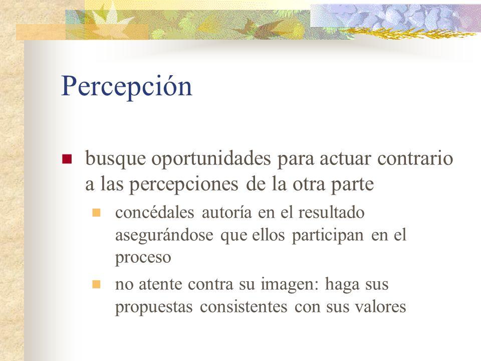 Percepción busque oportunidades para actuar contrario a las percepciones de la otra parte concédales autoría en el resultado asegurándose que ellos pa