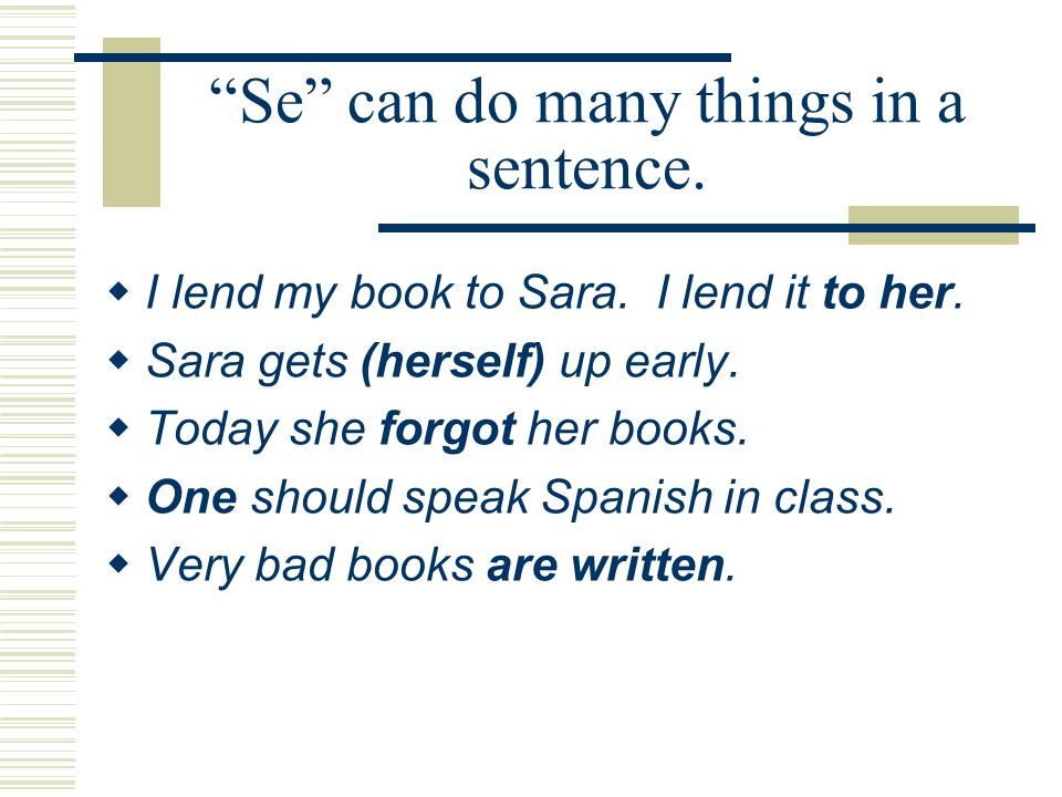 Se can do many things in a sentence.I lend my book to Sara.