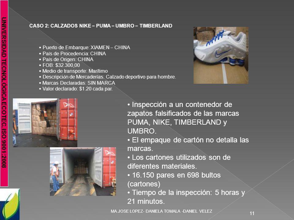 UNIVERSIDAD TECNOLÓGICA ECOTEC. ISO 9001:2008 MA.JOSE LOPEZ- DANIELA TOMALA -DANIEL VELEZ 11 CASO 2: CALZADOS NIKE – PUMA – UMBRO – TIMBERLAND Puerto