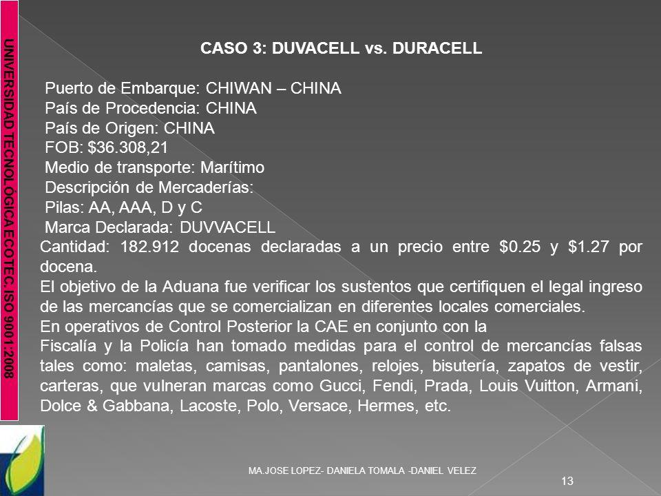 UNIVERSIDAD TECNOLÓGICA ECOTEC. ISO 9001:2008 MA.JOSE LOPEZ- DANIELA TOMALA -DANIEL VELEZ 13 CASO 3: DUVACELL vs. DURACELL Puerto de Embarque: CHIWAN