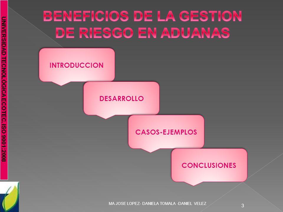 UNIVERSIDAD TECNOLÓGICA ECOTEC. ISO 9001:2008 MA.JOSE LOPEZ- DANIELA TOMALA -DANIEL VELEZ 3 INTRODUCCION DESARROLLO CASOS-EJEMPLOS CONCLUSIONES