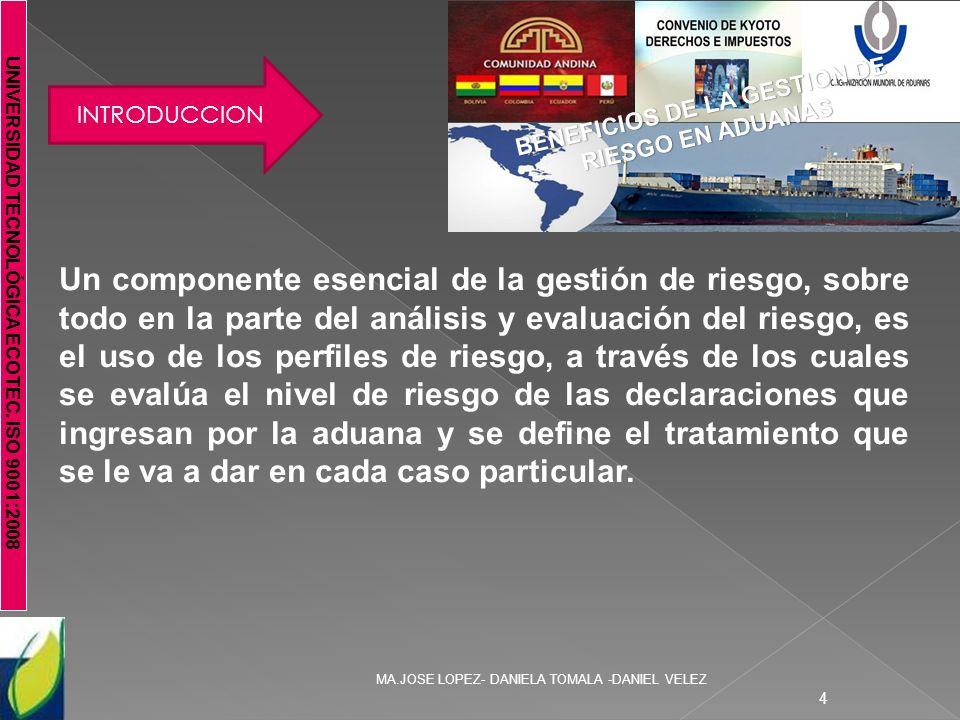 UNIVERSIDAD TECNOLÓGICA ECOTEC. ISO 9001:2008 MA.JOSE LOPEZ- DANIELA TOMALA -DANIEL VELEZ 4 INTRODUCCION BENEFICIOS DE LA GESTION DE RIESGO EN ADUANAS