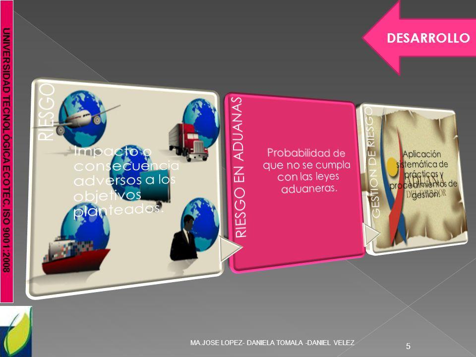 UNIVERSIDAD TECNOLÓGICA ECOTEC. ISO 9001:2008 MA.JOSE LOPEZ- DANIELA TOMALA -DANIEL VELEZ 5 DESARROLLO