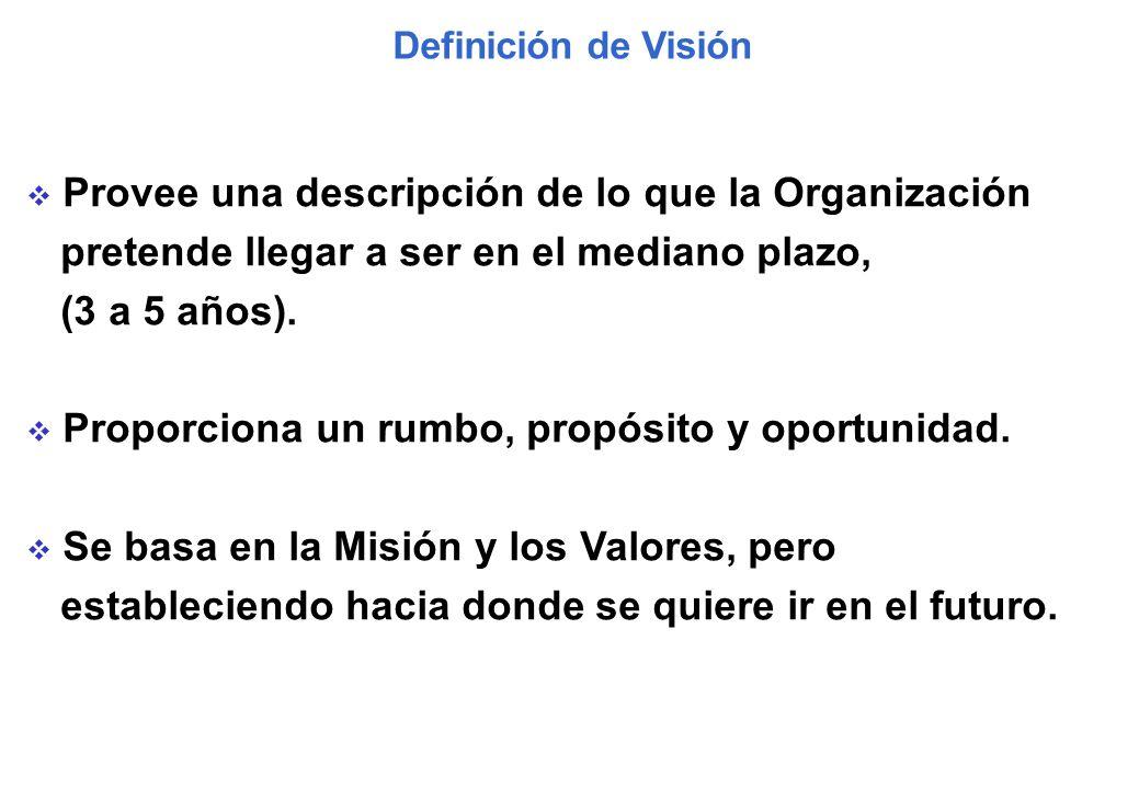 Definición de Visión Provee una descripción de lo que la Organización pretende llegar a ser en el mediano plazo, (3 a 5 años). Proporciona un rumbo, p