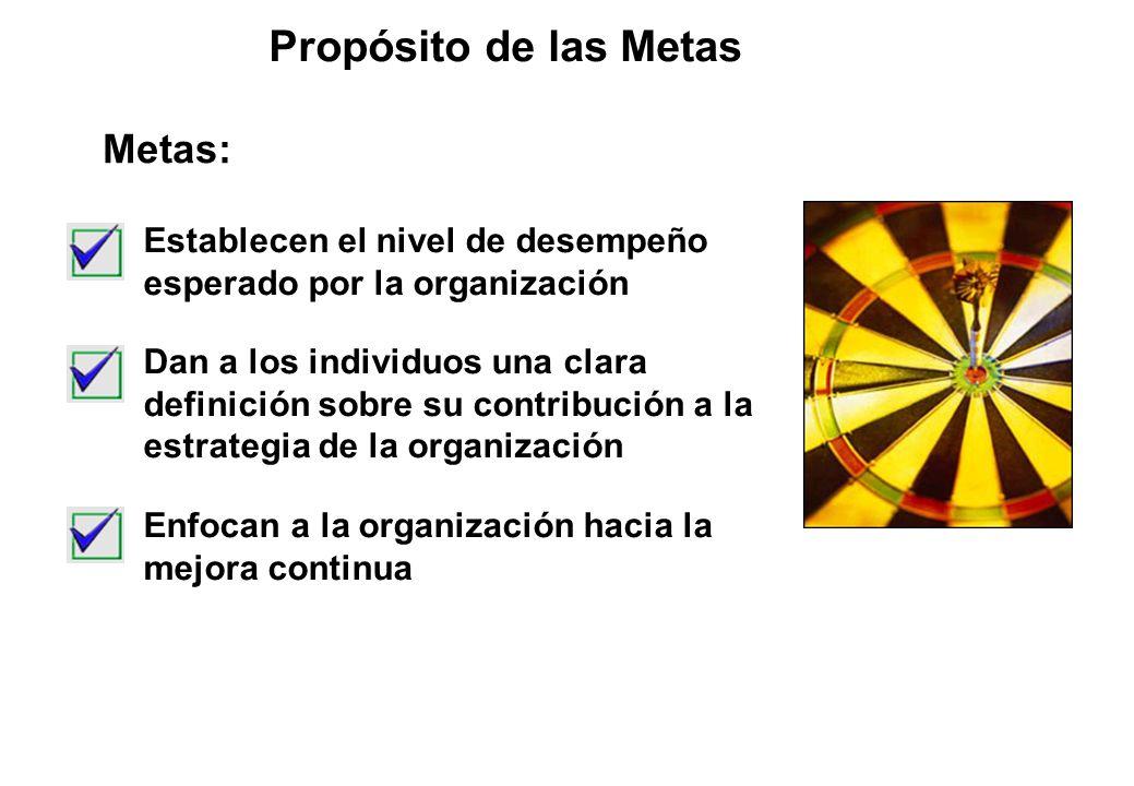 Propósito de las Metas Establecen el nivel de desempeño esperado por la organización Dan a los individuos una clara definición sobre su contribución a