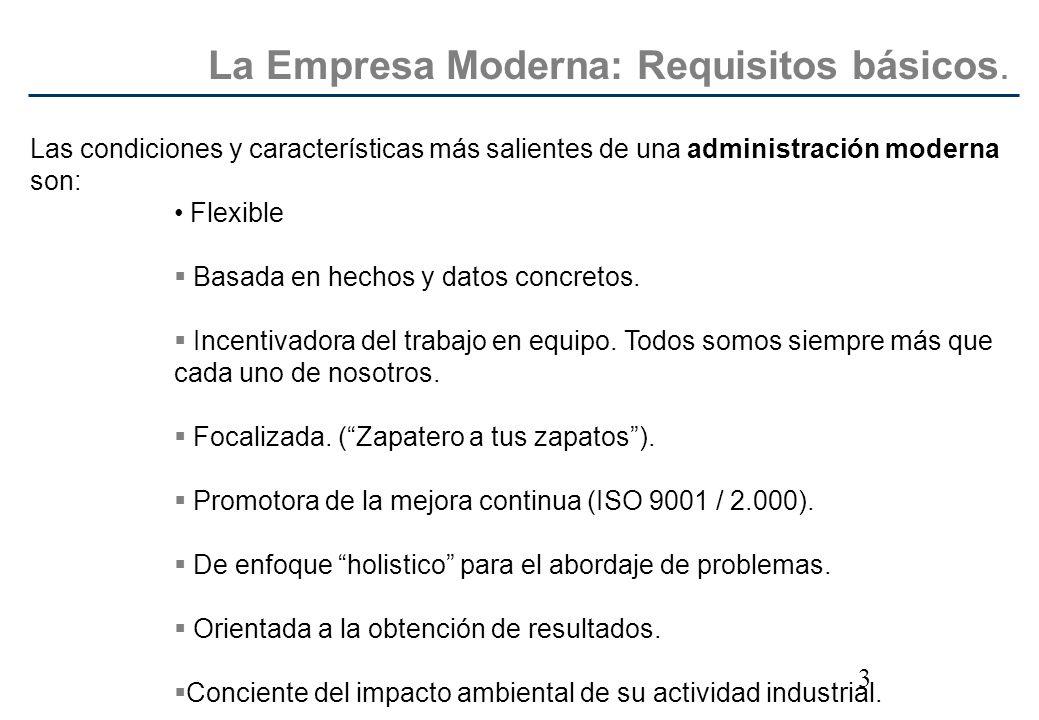 3 Las condiciones y características más salientes de una administración moderna son: Flexible Basada en hechos y datos concretos. Incentivadora del tr