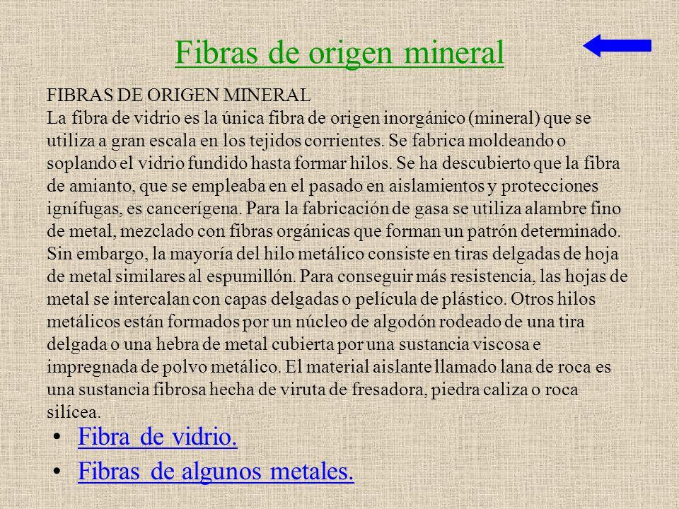 LAS FIBRAS TEXTILES Fibras de origen mineral. Fibras de origen vegetal. Fibras de origen animal.Fibras de origen animal Fibras artificiales. Fibras si