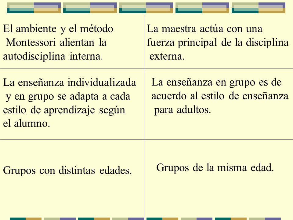 El ambiente y el método Montessori alientan la autodisciplina interna. La maestra actúa con una fuerza principal de la disciplina externa. La enseñanz