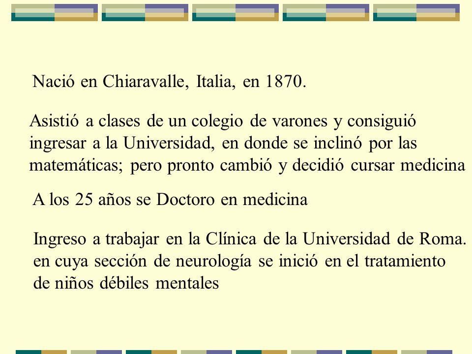 Nació en Chiaravalle, Italia, en 1870. Asistió a clases de un colegio de varones y consiguió ingresar a la Universidad, en donde se inclinó por las ma