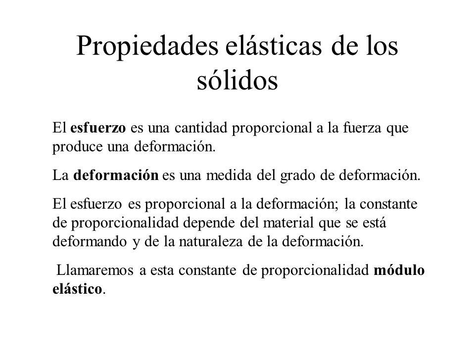 Propiedades elásticas de los sólidos El esfuerzo es una cantidad proporcional a la fuerza que produce una deformación. La deformación es una medida de