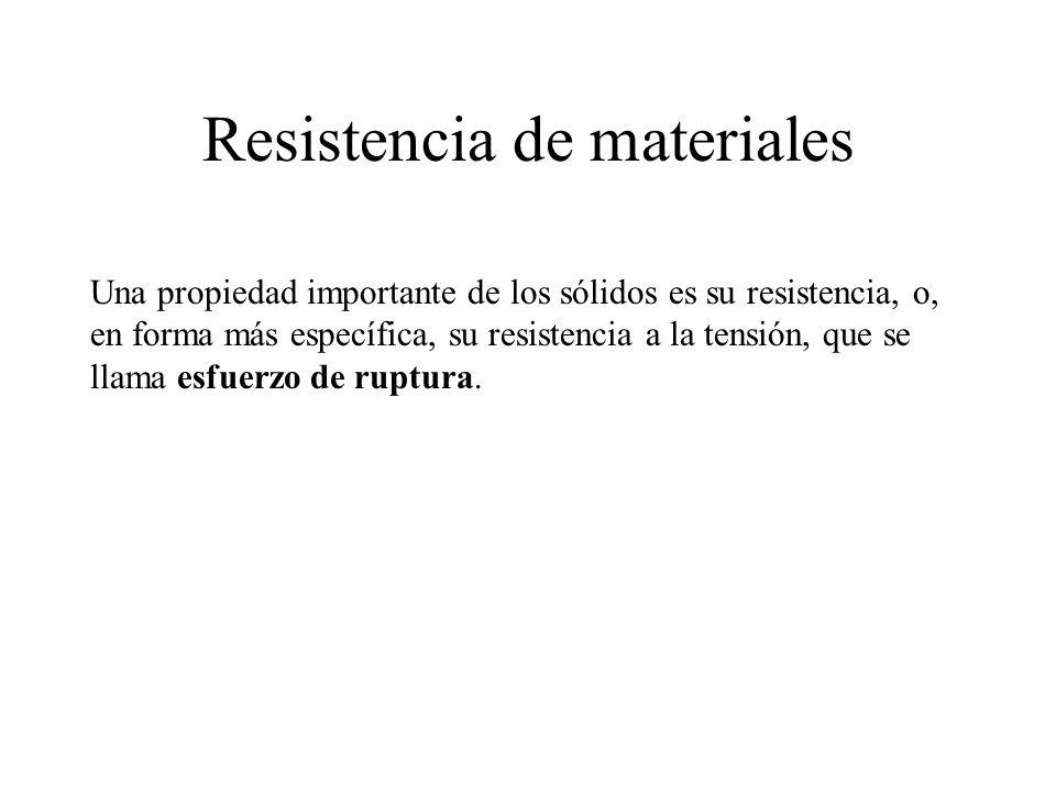 Resistencia de materiales Una propiedad importante de los sólidos es su resistencia, o, en forma más específica, su resistencia a la tensión, que se llama esfuerzo de ruptura.