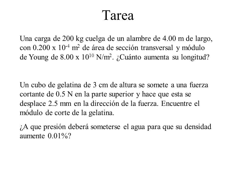 Tarea Una carga de 200 kg cuelga de un alambre de 4.00 m de largo, con 0.200 x 10 -4 m 2 de área de sección transversal y módulo de Young de 8.00 x 10