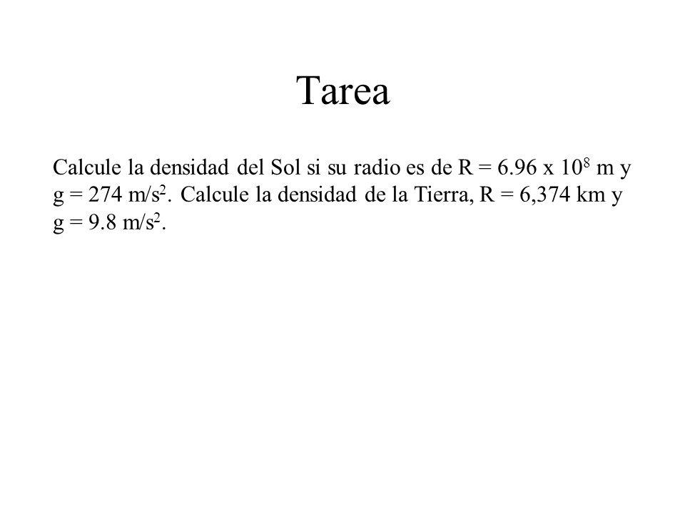 Tarea Calcule la densidad del Sol si su radio es de R = 6.96 x 10 8 m y g = 274 m/s 2. Calcule la densidad de la Tierra, R = 6,374 km y g = 9.8 m/s 2.