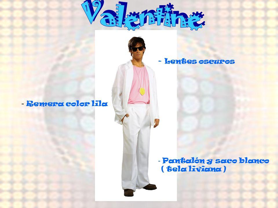 - Smoking - Camisa blanca - Vestido celeste c/hombreras, faja y mangas abuchonadas -Gargantilla grande