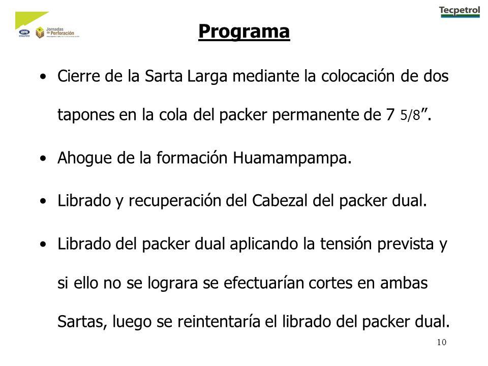 10 Programa Cierre de la Sarta Larga mediante la colocación de dos tapones en la cola del packer permanente de 7 5/8. Ahogue de la formación Huamampam