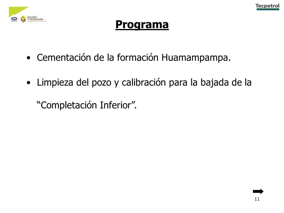 11 Programa Cementación de la formación Huamampampa. Limpieza del pozo y calibración para la bajada de la Completación Inferior.