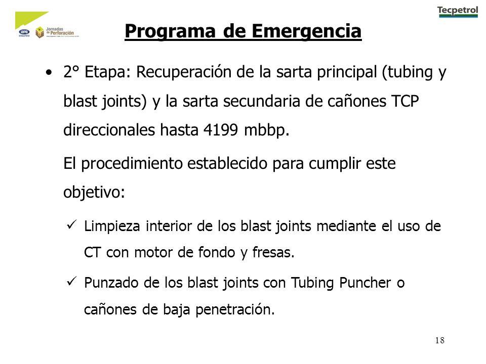18 2° Etapa: Recuperación de la sarta principal (tubing y blast joints) y la sarta secundaria de cañones TCP direccionales hasta 4199 mbbp. El procedi