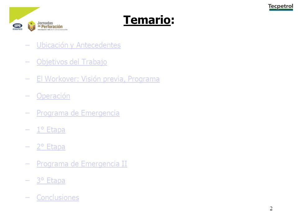 2 Temario: –Ubicación y AntecedentesUbicación y Antecedentes –Objetivos del TrabajoObjetivos del Trabajo –El Workover: Visión previa, ProgramaEl Workover: Visión previa, Programa –OperaciónOperación –Programa de EmergenciaPrograma de Emergencia –1° Etapa1° Etapa –2° Etapa2° Etapa –Programa de Emergencia IIPrograma de Emergencia II –3° Etapa3° Etapa –ConclusionesConclusiones