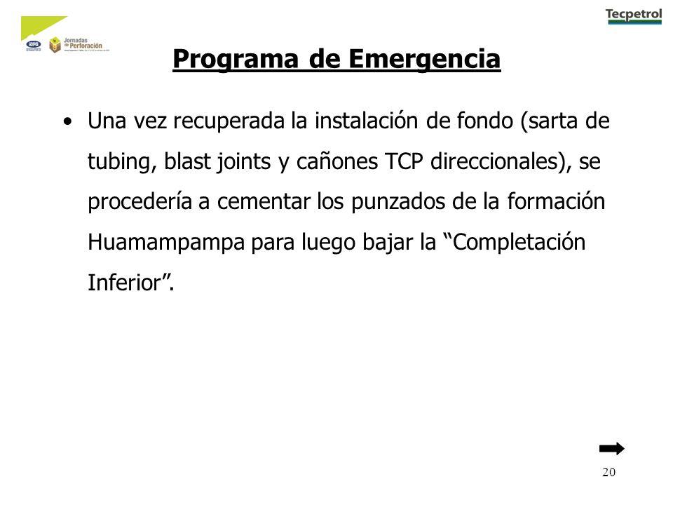 20 Una vez recuperada la instalación de fondo (sarta de tubing, blast joints y cañones TCP direccionales), se procedería a cementar los punzados de la formación Huamampampa para luego bajar la Completación Inferior.