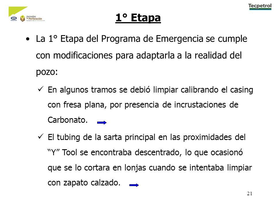 21 1° Etapa La 1° Etapa del Programa de Emergencia se cumple con modificaciones para adaptarla a la realidad del pozo: En algunos tramos se debió limp